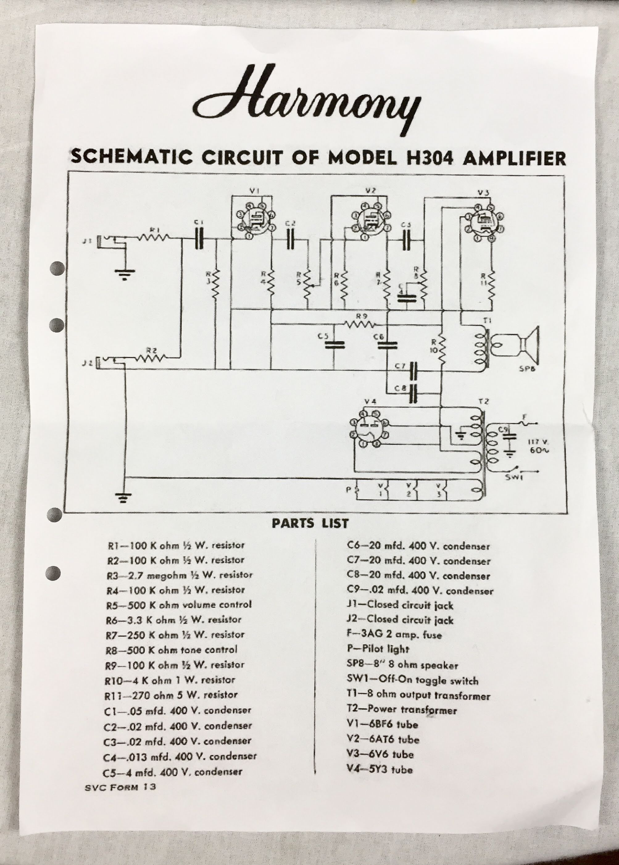 Harmony H306a Schematic Wiring Amp - Search Wiring Diagrams on